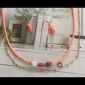 Coral peach beaded double strand necklace set